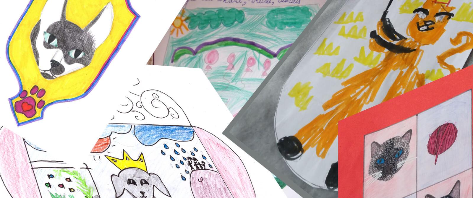 Vaikų nupiešti herbai su gyvūnais