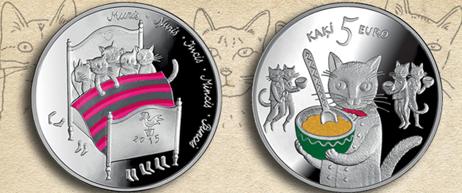 Latviškos penkių eurų moneta
